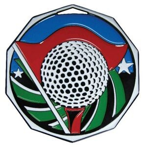 "Golf Decagon Colored Medallion (2"")"