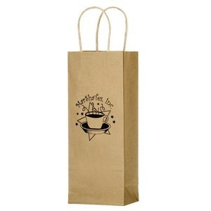 "Natural Kraft Paper 1-Bottle Wine Tote Bag (5 3/4""x3 1/2""x12 1/2"") - Flexo Ink"