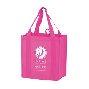 "Breast Cancer Awareness Pink Non-Woven Heavy Duty Grocery Bag w/ Insert (12""x8""x13"") - Screen Print"