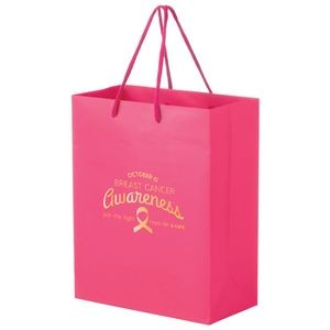 "Breast Cancer Awareness Pink Matte Laminated Euro Tote Bag (8""x4""x10"") - Foil Stamp"