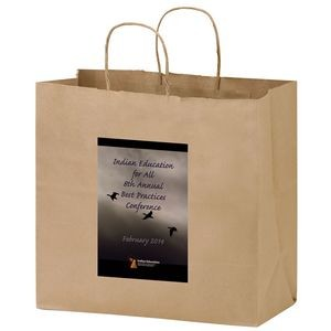 "Natural Kraft Paper Carry-Out Bag w/ Full Color (13""x7""x12 ¾"") - Color Evolution"