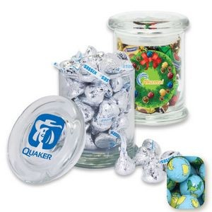 Air Tight Gourmet Glass Jar Filled w/ Chocolate Earth Balls