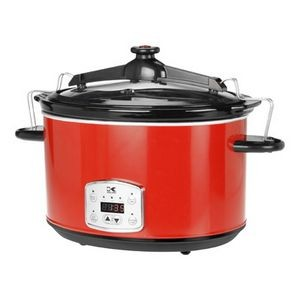 Red 8 Quart Digital Slow Cooker w/Locking Lid